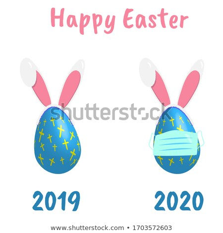 easter card with cross and two eggs vector illustration stock photo © carodi