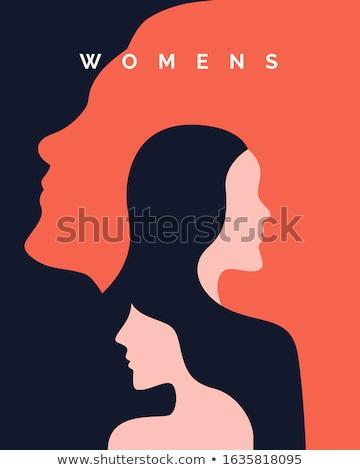 Stockfoto: Lang · haar · schoonheid · silhouet · twee · naakt · vrouw