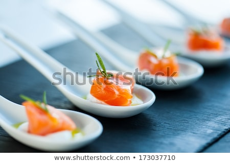Smoked Salmon Appetizers on Spoons Stock photo © Tagore75