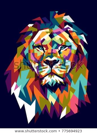 lew · głowie · maskotka · cartoon · ilustracja · sportu - zdjęcia stock © kari-njakabu