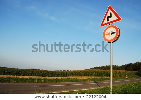 Landscape with a traffic sign: Don't overtake  Stock photo © meinzahn
