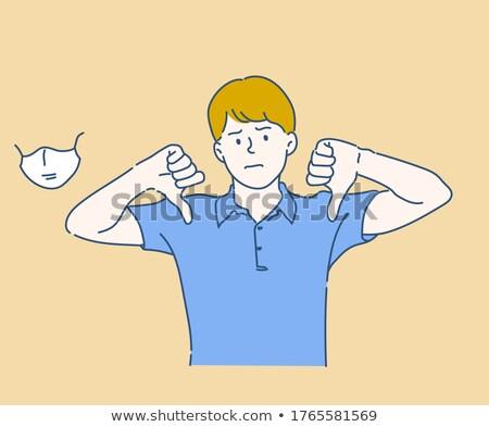 Fiatalember kezek felirat eltávolítás izolált fehér Stock fotó © alexandrenunes