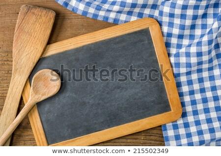Pizarra cucharas azul mantel Foto stock © Zerbor