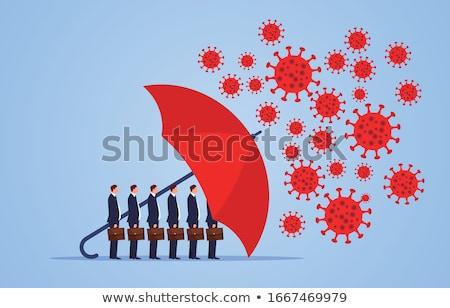 Mensen parasols groep mensen Rood vrouwen lopen Stockfoto © gemenacom