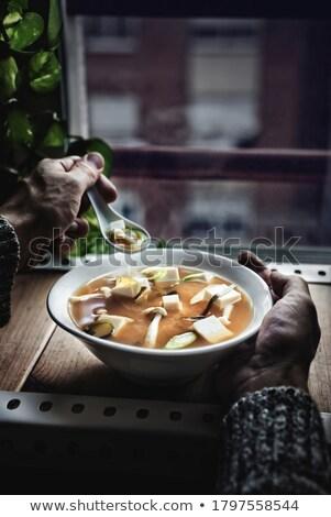 日本語 スープ 豆腐 キノコ 日没 ストックフォト © Photooiasson