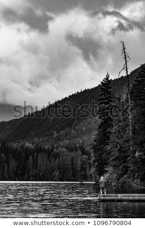 canoe dock with mountain reflection stock photo © jameswheeler