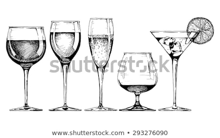 sketch martini champagne and wine glass in vintage style stock photo © kali
