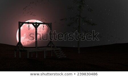 Spooky Night background with Gallow, Crows and Red Moon Stock photo © ankarb