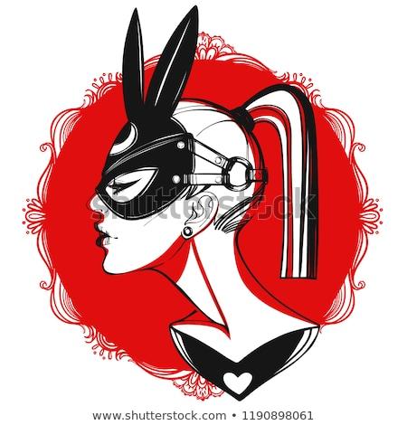 Homme lapin rouge coeur dessinés à la main Photo stock © tanya_ivanchuk
