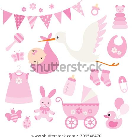 Storch Mädchen Baby Karte Gradienten Mesh Stock foto © adamson