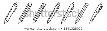 pen · geïsoleerd · grijs · witte · papier · teken - stockfoto © Ximinez