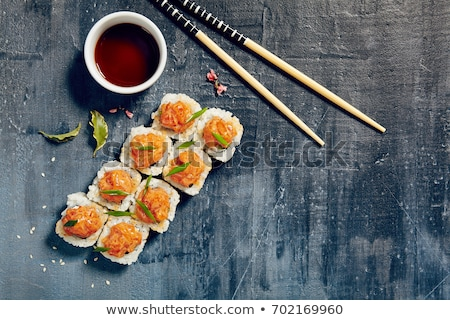 Sushi rolls with tuna and salmon plate Stock photo © Anna_leni