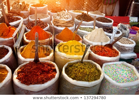 Stock photo: Spice Indian bazaar  Anjuna Market  Goa