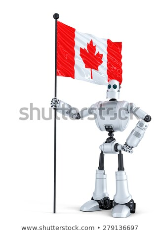 android robot standing with flag of canada isolated contains clipping path stock photo © kirill_m