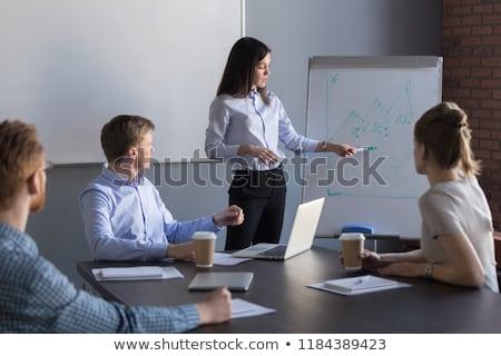 女性実業家 戦略 メモ帳 笑みを浮かべて 孤立した ストックフォト © deandrobot