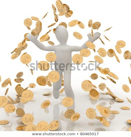 3d · человек · счастливым · монетами · белый - Сток-фото © nithin_abraham