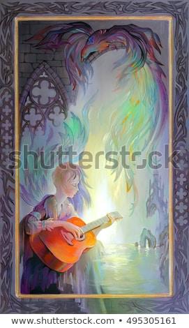 gótikus · lány · játszik · gitár · izolált · fehér - stock fotó © fatalsweets