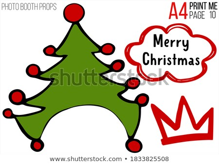 Christmas card from Christmas trees with masquerade mask and Christmas decorations. Stock photo © mcherevan
