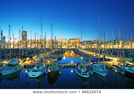 Barcelona · marina · luxus · jacht · kikötő · naplemente - stock fotó © lunamarina