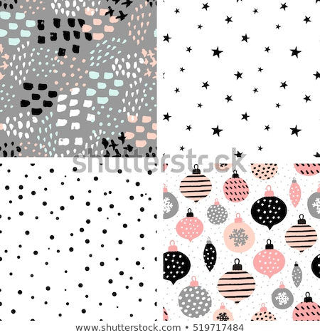 four seamless christmas patterns with snowflakes and trees stock photo © bluelela