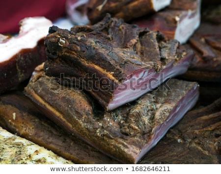 smoked bacon in a street market stock photo © smuki