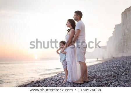 Foto d'archivio: Daddy · bambino · mare · tramonto · spiaggia · acqua
