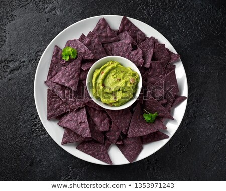 Blue corn tortilla chips with salsa Stock photo © fotogal