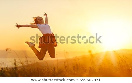 Pessoas felizes pôr do sol ilustração natureza lago rio Foto stock © adrenalina