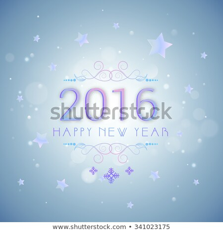 Happy New Year 2016 celebration poster, banner or flyer with stylish text and stars on blue backgrou Stock photo © rommeo79