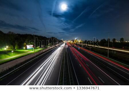 Elmosódott autó autópálya bemozdulás használt fa Stock fotó © lightpoet