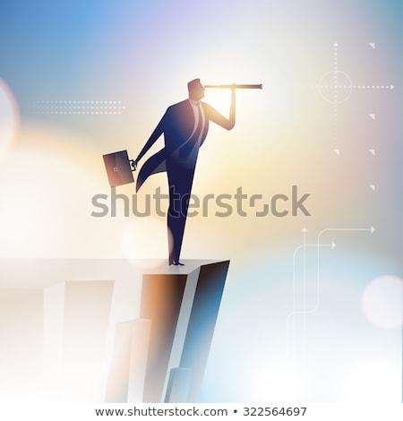 Biznesmen patrząc naprzód odizolowany biały front Zdjęcia stock © cherezoff
