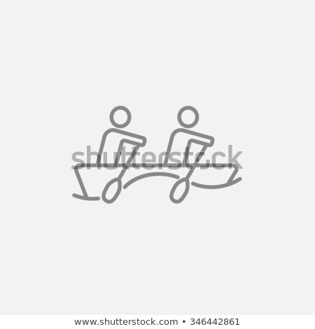 Stock photo: Tourists sitting in boat line icon.
