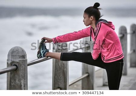 Stock fotó: Nő · visel · rózsaszín · kabát · nyújtás · napos · idő