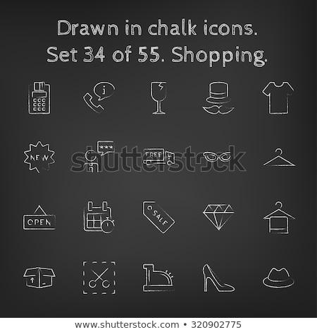 cracked glass drawn in chalk icon stock photo © rastudio