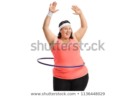 Woman with hula hoop isolated on white Stock photo © Elnur