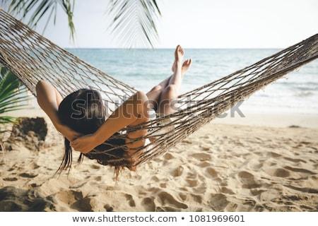 tengerpart · pihenés · kalap · nő · alszik · nap - stock fotó © kzenon
