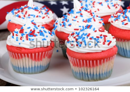 Cupcake decorated in Fourth of July holiday colors Stock photo © tab62