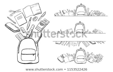 Caderno calculadora apagador lápis preto escritório Foto stock © OleksandrO