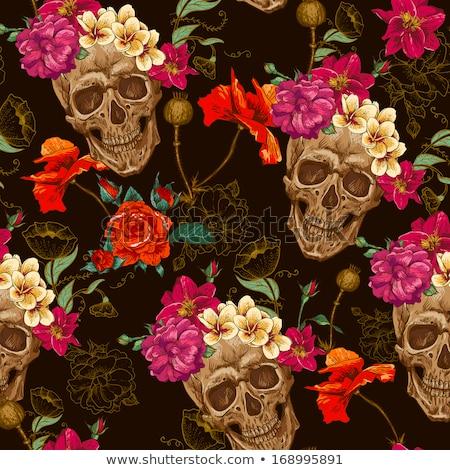 vintage seamless pattern with skull vector illustration stock photo © carodi