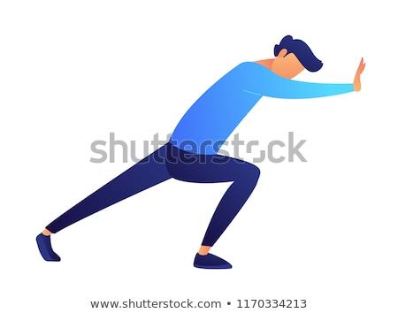 mutlu · karikatür · adam · ayakta · mavi · pantolon - stok fotoğraf © bluering