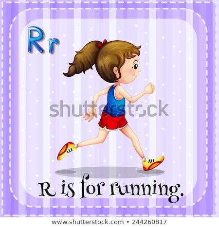 Flashcard alphabet R is for run Stock photo © bluering