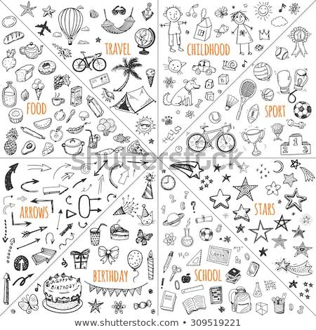 rajz · szett · illusztráció · sportoló · betűk · sportok - stock fotó © zsooofija