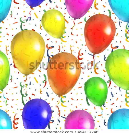 colorful balloons with serpantin and confetti seamless pattern on white stock photo © evgeny89