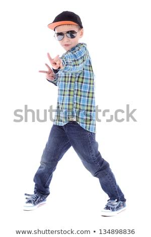 Kicsi fiú tánc egyedül illusztráció mosoly Stock fotó © bluering