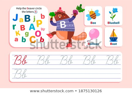Flashcard letter B is for beaver Stock photo © bluering