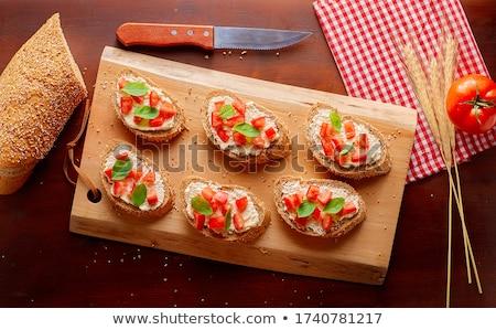 bruschettas with tomato,mozzarella and basil Stock photo © M-studio
