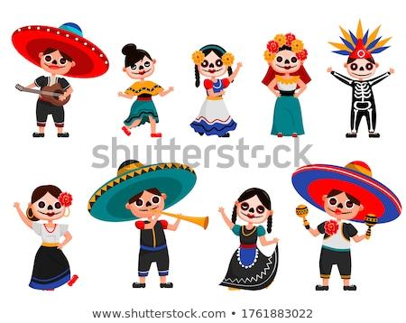 Day of the Dead. Skull Mexican Hat. Dia de Muertos Stock photo © orensila