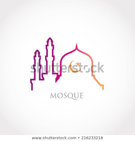 colorful line design   red gradation mosque and crescent moon stock photo © kkunz2010