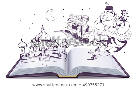 Offenes Buch Geschichte Geschichte Magie Lampe arab Stock foto © orensila