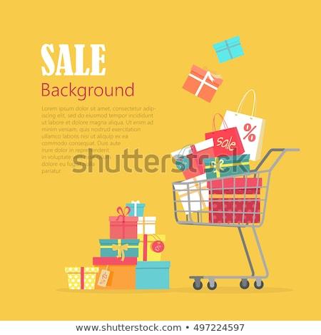cesta · de · la · compra · regalo · amarillo · regalos · aislado · blanco - foto stock © jordanrusev